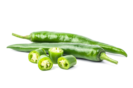 relish: Green chilli pepper isolated on white background. Stock Photo