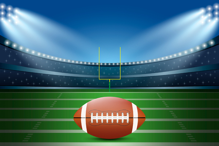 American football on field of stadium with spotlight. Vector illustration. 矢量图像