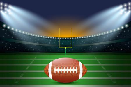 American football on field of stadium with spotlight. Vector illustration. Illustration