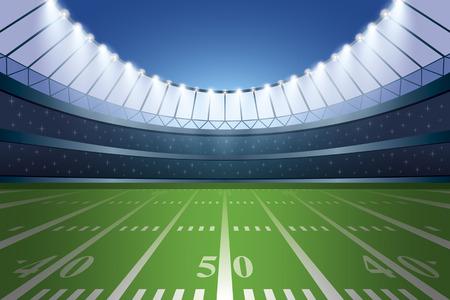 American football stadium with spotlight. Vector illustration.