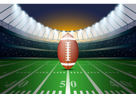 American football on field of stadium with spotlight. Vector illustration. Ilustração