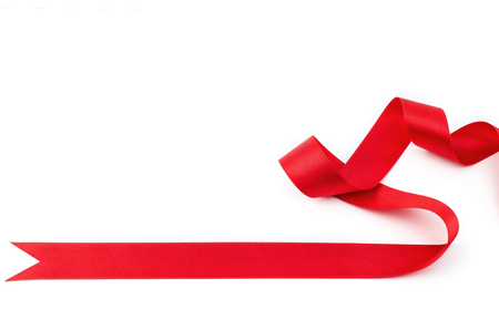 satin ribbon: Red satin ribbon isolated on white background