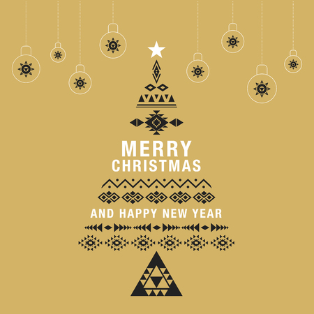 holiday invitation: Christmas greeting card or invitation gold background. with holiday ornament bauble decoration. Ethnic boho design.Vector illustration.