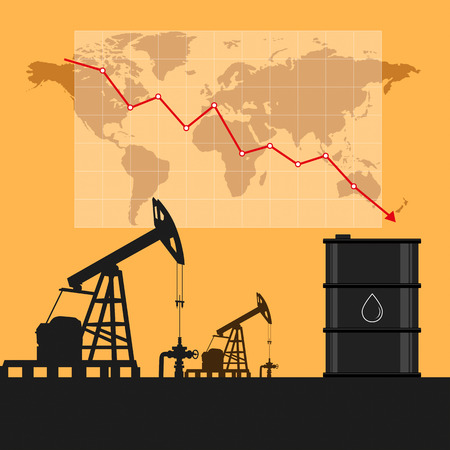 Oil industry concept. Oil price falling down graph and chart with world map background. Illustration