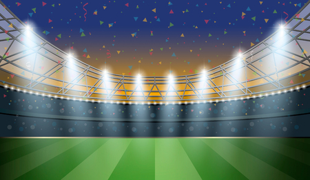 arena: Soccer Stadium with spot light and confetti background. Football Arena.