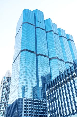 reflective: Modern blue reflective office buildings.