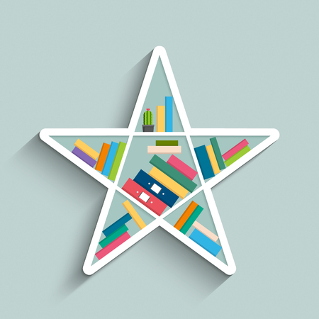 Bookshelf in form of star with colorful books on blue pastel color background. Flat design. Vector illustration.