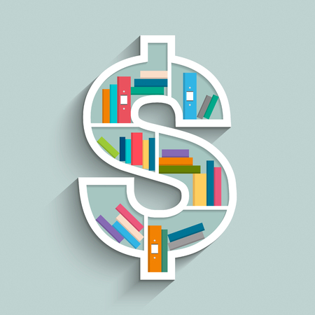 Bookshelf in form of dollar sign with colorful books on blue pastel color background. Flat design. Vector illustration.