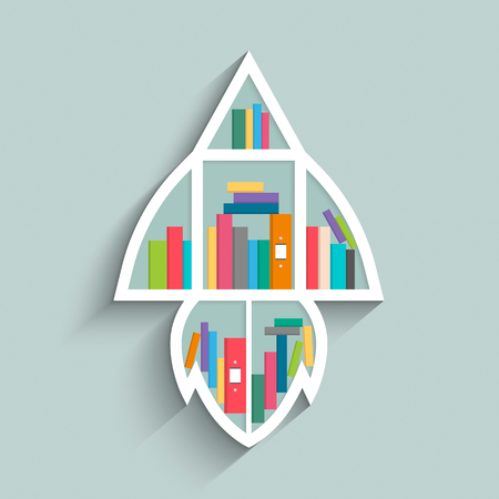 Bookshelf in form of rocket with colorful books on blue pastel color background. Flat design. Vector illustration.