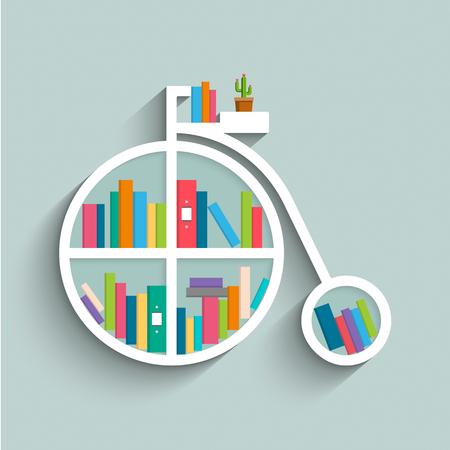 Bookshelf in form of vintage bike with colorful books on blue pastel color background. Flat design. Vector illustration. Illustration