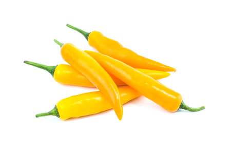 capsaicin: Yellow chilli pepper isolated on white background. Stock Photo