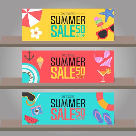 super market: Summer sale background for banner, poster, brochure, flyer, voucher discount, invitation card, backdrop and template design. Vector illustration Illustration