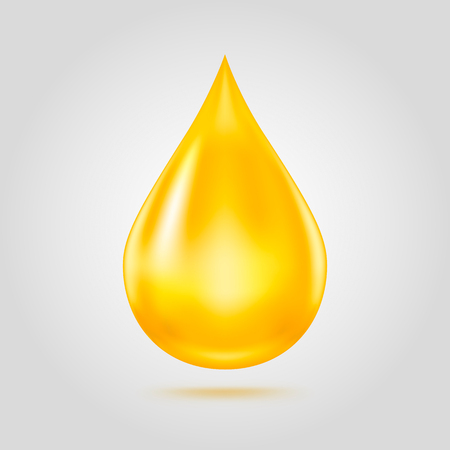 Golden oil drop isolated on light grey background. useful for olive, gasoline or cosmetic oil icon. Vector illustration.