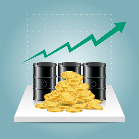 Oil industry concept. Oil price growing up graph with oil tank and dollar coins. Financial markets. vector illustration.