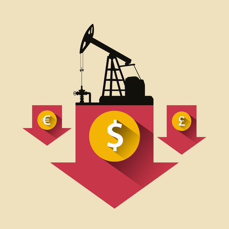 Oil industry concept. Oil price falling down arrow with petroleum pump and dollar, pound, euro coin. Financial markets. Vector illustration.
