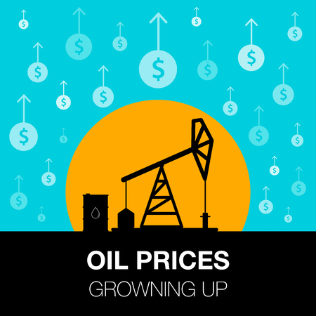 Oil industry concept. Oil price growing up with dollar coin and petroleum pump. Financial markets. vector illustration.
