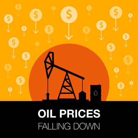 Oil industry concept. Oil price falling down with dollar coin and petroleum pump. Financial markets. Vector illustration. Illustration
