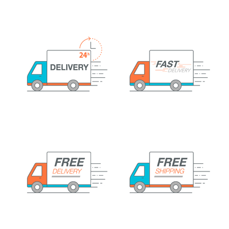 Delivery icon set. Truck service, order, 24 hour, fast and free worldwide shipping. Thin line icon vector illustration.