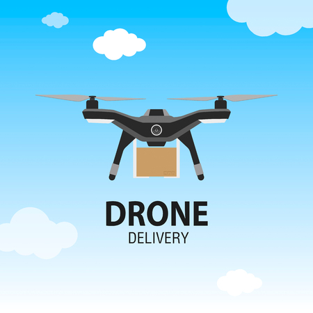 Drone delivery concept. Copter or quadcopter service, order, worldwide shipping. Modern design vector illustration. Illustration