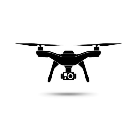 Drone icon. Copter or quadcopter with camera isolated on white background. Vector illustration. 向量圖像