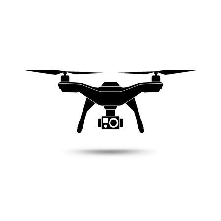 icono de aviones no tripulados. helicóptero o quadcopter con cámara aislada sobre fondo blanco. ilustración vectorial