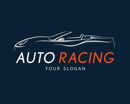 Auto racing symbol on dark blue background. Silver sport car logo design for dealer, shop, service station, showroom or corporate identity. Vector illustration. Illustration