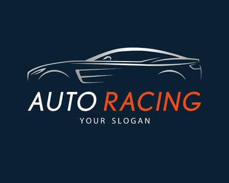 Auto racing symbol on dark blue background. Silver sport car logo design for dealer, shop, service station, showroom or corporate identity. Vector illustration.  イラスト・ベクター素材