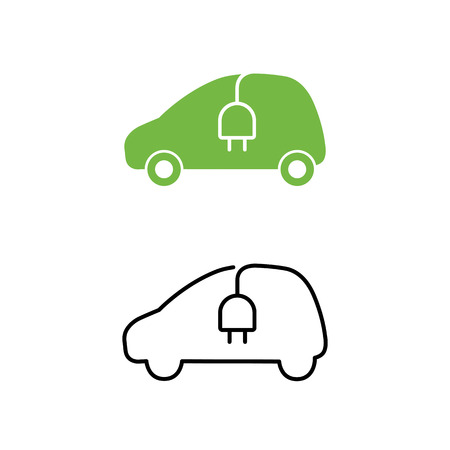 car isolated: Electric car with electrical charging cable icon. Hybrid Vehicle symbol. Eco friendly auto or electric vehicle concept. Vector illustration.
