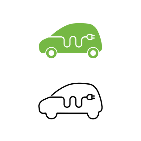 Electric car with electrical charging cable icon. Vettoriali