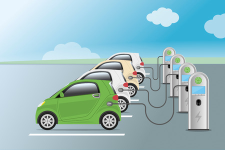 Power supply for electric car charging. Electric car charging station. Hybrid Vehicle, Eco friendly auto or electric vehicle concept. Vector illustration.