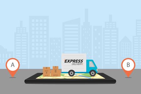 Concepto de entrega exprés Ilustración de vector