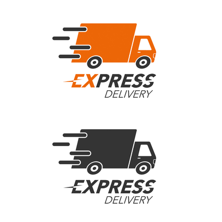 Express delivery icon concept. Truck service, order, worldwide, fast and free shipping. Modern design vector illustration. Vettoriali