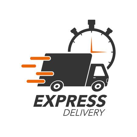 Conceito de ícone de entrega expressa. Caminhão com ícone de cronômetro para serviço, ordem, transporte rápido, gratuito e em todo o mundo. Ilustração em vetor design moderno.