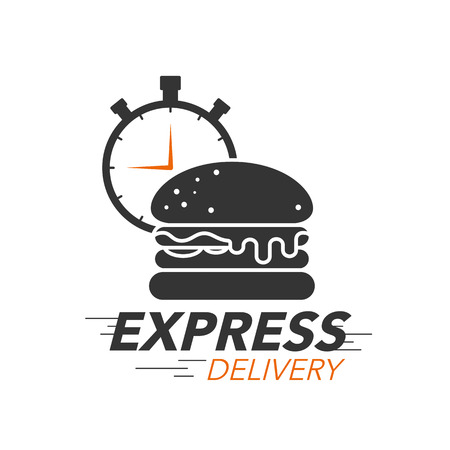 Express delivery icon concept. Burger with stop watch icon for food service, order, fast and free shipping. Modern design vector illustration. Illustration