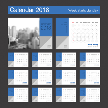event planner: 2018 Calendar. Desk Calendar modern design template. Week starts Sunday. Vector illustration. Illustration