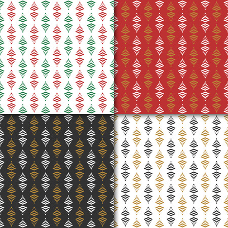 Christmas and  new year seamless pattern set. Winter holiday pattern for background or gift wrapping paper. Vector illustration. Ilustração