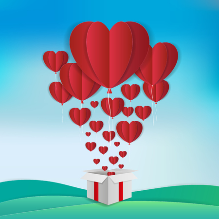 Love and Valentine's day theme background. Red balloons in heart shape are floating out of a white gift box. Paper art style. Vector illustration.