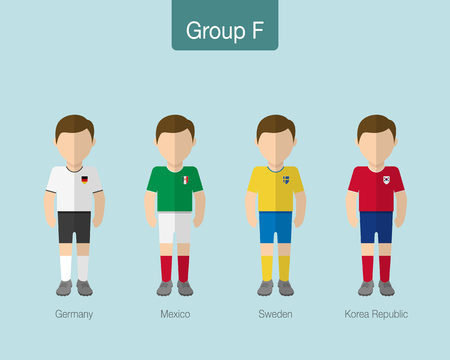 2018 Soccer or football team uniform. Group F with GERMANY, MEXICO, SWEDEN, KOREA REPUBLIC. Flat design. Vector illustration.