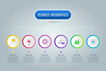 6 옵션, 부품 또는 프로세스와 infographic에 대 한 창조적 인 개념. 타임 라인 infographic 비즈니스 디자인 및 프레 젠 테이 션, 연례 보고서, 다이어그램, 워