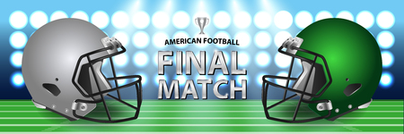 American football final match concept. Silver, green Helmets and football on field with spotlight background. Advertising template for banner, wallpaper, webpage or billboard. Vector Illustration. Illustration