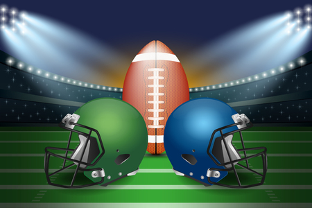 American football final match concept. Silver and green Helmets and football on field of stadium with spotlight background. Vector Illustration.