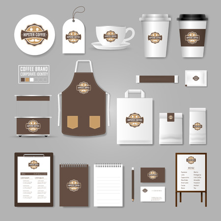 Corporate identity template. concept for coffee shop, cafe, restaurant. Realistic mock up template set of menu, package, cup, apron, bag, tag, cardboard.