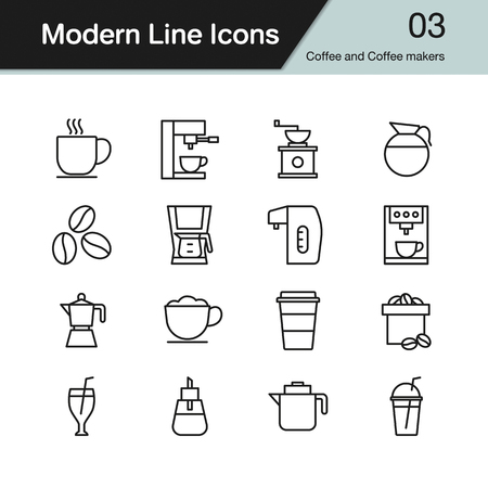 Coffee and Coffee makers icon. Modern line design set 3. Vector illustration.