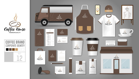 Corporate identity template Set. Icon concept for coffee shop, cafe, restaurant.