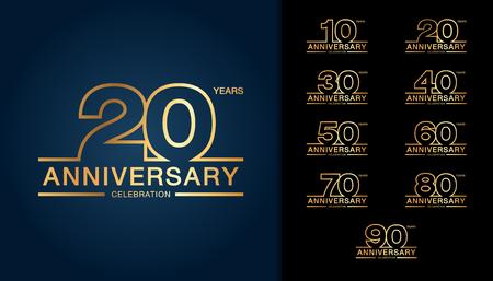 Conjunto de logotipo de aniversario. Diseño de emblema de celebración de aniversario de oro. Ilustración vectorial