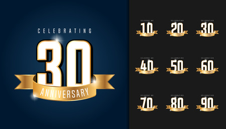 Set of anniversary logotype. Anniversary celebration emblem with ribbon design for booklet, leaflet, magazine, brochure poster, web, invitation or greeting card. Vector illustration.
