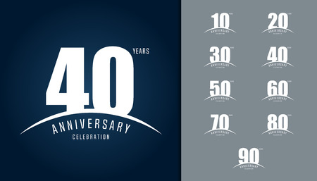Set of anniversary logotype. Anniversary celebration design template for booklet, leaflet, magazine, brochure poster, web, invitation or greeting card. Vector illustration. Stock Illustratie