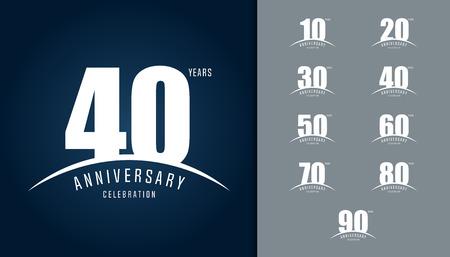 Zestaw rocznicowego logotypu. Szablon projektu obchodów rocznicy dla broszury, ulotki, magazynu, plakatu broszury, strony internetowej, zaproszenia lub karty z pozdrowieniami. Ilustracji wektorowych. Logo
