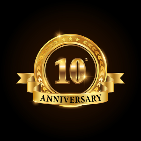 10 years anniversary celebration icon. Golden anniversary emblem with ribbon.