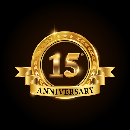 15 years anniversary celebration icon. Golden anniversary emblem with ribbon.